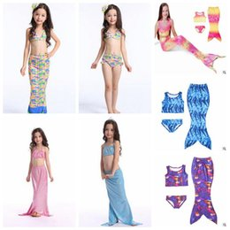 28 Designs Girl Mermaid Tail Swimmable Enfants Mermaid Tail Monofin Bikini Set Mermaid Fins Swimsuit Maillots de bain Natation Beachwear CCA5685 10set