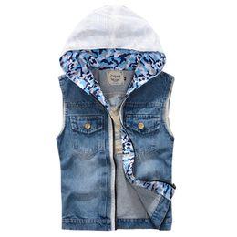 Jean Jacket Vest With Hood