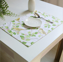 beautiful bird flower printing pattern cotton linen placemats for kitchen washable dining table mats non slip heat insulation placemat - Kitchen Table Mats