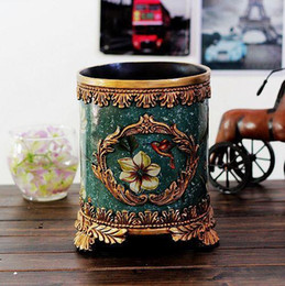 Vintage Home Decor Palace Trash Can Ceramic Crafts Shabby Chic Home Decoration Accessories 26 20cm