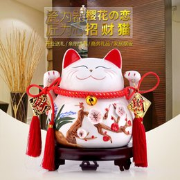 House Decoration Crafts Lucky Cat Ornaments Size Japanese Ceramic Piggy Bank Home Furnishing Decor Store Opening Housewarming Gift