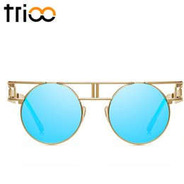wholesale trioo gothic vintage steampunk sunglasses women retro round cool sun glasses female uv400 protection gold frame woman shades vintage gold frame