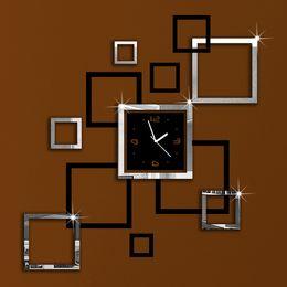 Wholesale Silver Black Squares Art Mordern Luxury Design DIY Removable 3D  Crystal Mirror Frame Wall Clock Wall Sticker Bedroom Decor