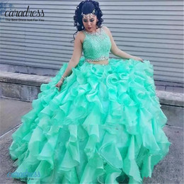 2017 purple two piece 2017 Princess Mint Lace Quinceanera Dresses two Piece Ball Gowns With Puffy Ruffle Masquerade Sweet 16 Dresses Prom Gown vestidos de 15 anos cheap purple two piece