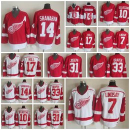 online shopping Throwback Detroit Red Wings Alex Delvecchio Ted Lindsay Curtis Joseph Kris Draper Brendan Shanahan Hull Ice Hockey Jersey