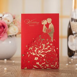 engagement red groom bride design wedding invitations elegant laser cut hollow invite cards with envelopes hp7201