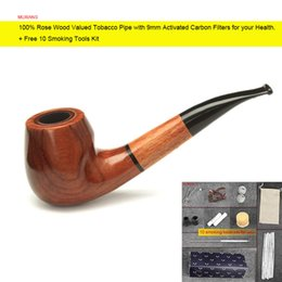 MUXIANG 100% Rose Wood Valued Tobacco Pipe with 9mm Activated Carbon Filters Bent Arylic Mouthpiece pipe ad0004 + Free 10 Smoking Tools Kit cheap rose value from rose value suppliers