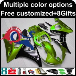 Discount fairing r6 silver black green black motorcycle cowl for Yamaha YZF-R6 2003-2004 03 04 YZFR6 2003 2004 03-04 ABS Plastic Fairing
