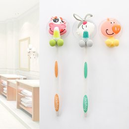 Cute Cartoon Suction Cup Toothbrush Holder Hooks Bathroom Set Accessories Eco Friendly Suctioncup Holder Household Items Bathroom Decor
