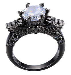 punk male female skull ring black gold simulated cz diamond vintage wedding rings for men and women crystal jewelry male wedding rings diamonds promotion - Male Wedding Ring