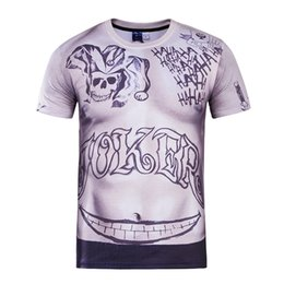 Wholesale Vente en gros Hot Joker Tattoo Movie Suicide Squad T shirt imprimé D Sexy Unisex T shirt Short Sleeve Casual Homme Loose Kid Teen Tops