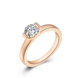 diamond ring white rose gold plated rings solitaire wedding party diamond jewelry gift for women luxury bague wholesale prices - Wedding Rings Prices