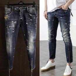 NUEVO llegan el dril de algodón Micro-elástico Desinger1601-1622 de los pantalones vaqueros delgados del botón de la mosca del botón D-2017 de calidad superior Hacen los agujeros lamentables Impresión de tinta MENS Jeans