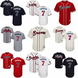 Discount brown baseball jerseys #7 Dansby Swanson Jersey, New Arrvial Atlanta Braves Jersey Men's Dansby Swanson 100% Stitched Embroidery Logos Baseball Jerseys Mix Order