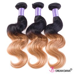 Discount ombre human hair wave Cheap Ombre Human Hair Bundles Body Wave Hair Weaves Two Tone 1B 27# Unprocessed Virgin Hair 6A Best Quality Factory Price