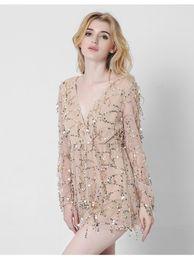 Discount cotton gauze patterns Lan Scarlett Map DRYA21 European Suit-dress New Pattern Long Sleeve Deep V Sexy Dress Gauze Tassels Paillette Short Skirt