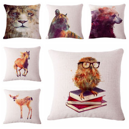 Wild Animal Cushion Cover Lion Tiger Almofada Bear Throw Pillow Case For Sofa Chair Couch Horse Deer Cojines Owl Books Decor