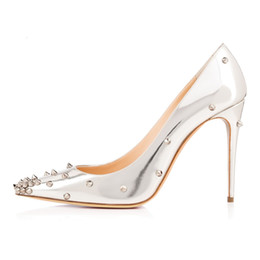 Discount Silver Heels Spikes | 2017 Sexy Silver Heels Spikes on