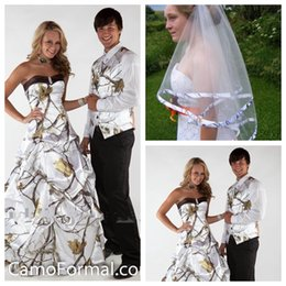 Wholesale 2017 год драпированные Белое реальное дерево Camo Свадебные платья на заказ Камуфляж Свадебные платья на заказ Интернет Узелок Назад С Вуаль Plus Size