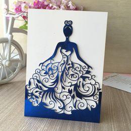 Grossiste-30pcs / lot Belle robe fille d'anniversaire paty cartes d'invitation de mariage Adult Ceremonie invitaiton carte de bénédiction carte QJ-68
