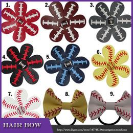 2017 Softball Baseball Football Cuir Hair Flower Hairclips Seamed Cheveux Arcs Équipe Couleurs Rhinestone Super Bowl 9 couleurs