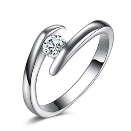 birthday christmas gift simple design high quality 925 silver white gold color crystal ring jewelry wedding rings for women accessory