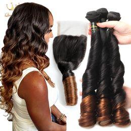 Discount ombre weaves closure 8A Grade Ombre Brazilian Hair Funmi Hair Wave 3 Bundles With lace Closure Original Brazilian human hair weave with closure Funmi Closure