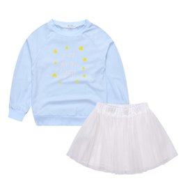 Discount cotton gauze patterns 2016 new arrival autumn winter girls gauze skirt star pattern sport two piece suit 3T-10T 3pcs lot