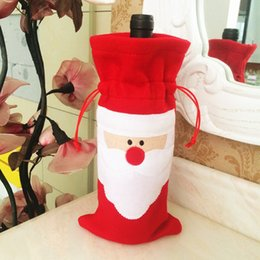 Wholesale 1pcs New Red Wine Bottle Cover Bags Christmas Dinner Table Decoration Home Party Decors Christmas Goods Wholesale