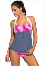 Wholesale Stripes Black Splice Tankini Traje de baño