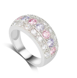 pink and purple zircon crystal rings for girls fashion new unique design engagement wedding ring party jewelry free shipping purple wedding rings designs - Purple Wedding Rings