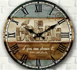 Wholesale 34cm Vintage Wood Wall Clock Rustic Large Circular Digital Home Wall Decor Bedroom Kitchen Wood Crafts With Bird Print