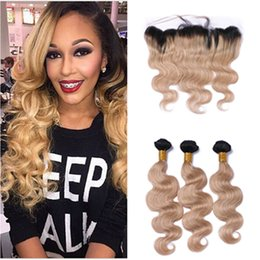 2017 ombre weaves closure Ombre Hair Extensions #1b 27 Honey Blonde Ombre Human Hair 3Pcs With Lace Frontal Closure Two Tone Body Wave Lace Frontal With Bundles affordable ombre weaves closure