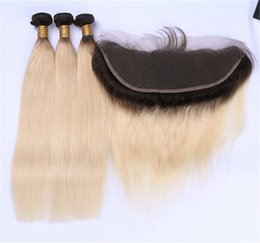 Discount ombre weaves closure European 10A Grade Ombre Hair Extensions #1b 613 Blonde Ombre Human Hair 3Pcs With 13*4'' Lace Frontal Closure Two Tone Straight Hair Weaves