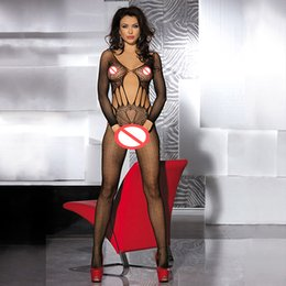 Sexy Body Medias Free Size Negro Long Sleeved Mariposa Cut Out Crotchless Liga Abertura Crotch Lencería Un Tamaño Se adapta a la mayoría de las mujeres (96118J)