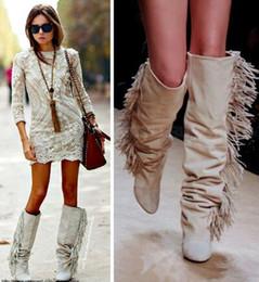 Discount White Leather Fringe Boots | 2017 White Leather Fringe ...