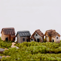 4pcs Mini House Cabin Home Decoration Accessories Fairy Garden Miniatures Resin Craft Terrarium Figurines Bonsai Tools Staues Jardin Gnomes
