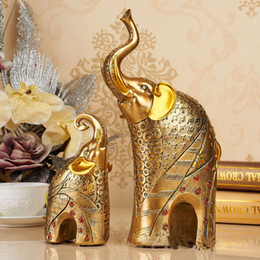 Modern European Home Decoration Accessory Resin Elephant Artwork For Living Room Friend S Gift Silver And Golden Color Available