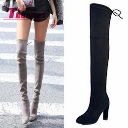 Women's Black Over Knee Wedge Boots Online | Women's Black Over ...