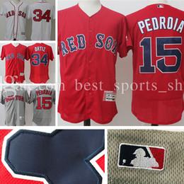 Discount boston home 2017 Men's Boston Red Sox baseball jersey 34# David Ortiz 15# Dustin Pedroia Majestic Home Flex Base Authentic Player jerseys 100% S