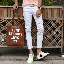 Discount Men White Capri Pants | 2017 White Capri Pants Loose Men ...