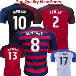 Wholesale Maillot de football United Statess Country Team Football Uniformes Dempsey Donovan Bradley Morgan America Cup Lloyd Altidore Red Woman Shirts