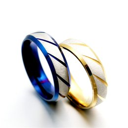 hot selling stainless steel rings european and american popular mens rings unisex wedding rings blue gold black color christmas gifts - Blue Wedding Rings