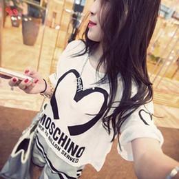 Wholesale femmes d été Loving Heart Imprimé Jewel Embedded T shirt à manches courtes Punk Rock Marque T shirt tops Tees Femmes Plus Size