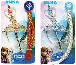 2017 frozen elsa anna dresses sets Cheap Frozen Anna Elsa Headbands 4pcs sets=Crown+ Wig+Wand + Gloves dress Hair Clips Hair Bows Christening Dresses Girls Dancewear 20set