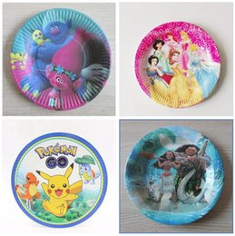 paper plate trolls moana cartoon birthday decoration party supply xmas festival for kids girls boys dishes tableware dhl free shipping - Decorative Paper Plates