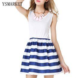 Discount Navy Blue White Striped Dress - 2017 Navy Blue White ...