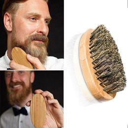 Escova de barba para homens escova de bambu cerdas de javali rosto massagem homens escovas de barbear pente barbas e bigode ZA2023