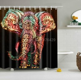 wholesale custom shower curtain cartoon graffiti elephant design bathroom waterproof mildewproof polyester fabric multisize 12 hooks