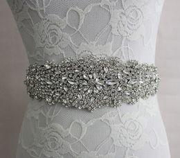online shopping 2017 Real Image Wedding Dresses Sash Bridal Belts Rhinestone Crystal Ribbon Tie Back Bridal Accessories Princess Handmade Fashion